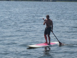 John tries the paddleboard