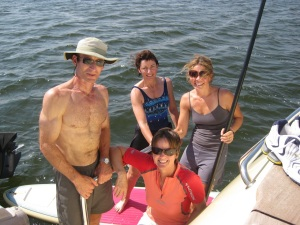 Liz the paddleboarder comes aboard for a visit
