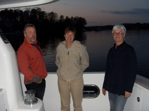 Bradley, Kathy and Uli enjoy a calm evening on St. Leonard's Creek