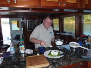 Erwin puts finishing touches on dinner