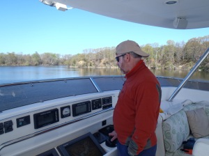 Bradley navigates from flybridge