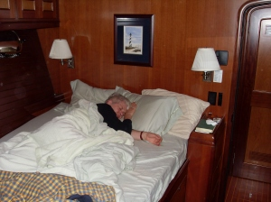 Uli sleeps in guest cabin
