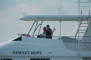 George and Leanne on the Flybridge of Sweet Hope
