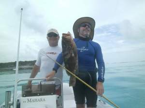 Bradley and Mike with a great spearfishing catch - Nassau Grouper!