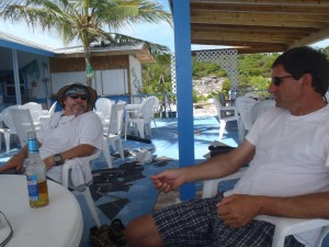 Enjoying a Kalik at the Exuma Point Beach Bar and Grill