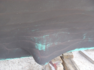Bottom paint on hull