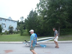 Taking the paddleboards to launch site
