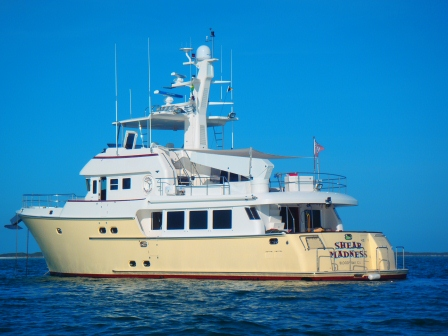 Shear Madness at anchor, Staniel Cay, Bahamas