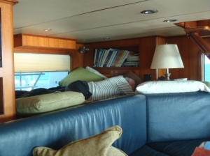 Bradley sleeps in watch berth in rough seas to be close at hand