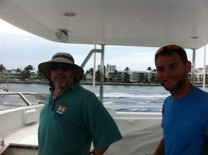 New crew member Tyler with Bradley on the flybridge