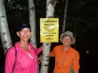 Stef and Kathy ready to take some risks on a hike inShelburne!