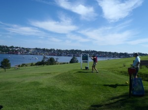 Sid tees off at Bluenose golf course in Lunenburg