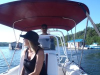 Stef enjoys a harbor cruise inLunenburg