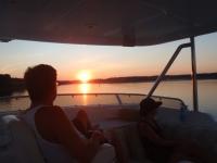 Sid enjoys sunset on theflybridge