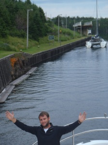 Tyler on the bow as we navigate the St. Peter Canal and enter the Bras D'Or Lake