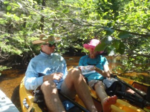 Atle and Kristina at the lunch stop during our kayak expedition on the Washabuck River