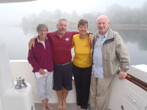 Valerie, Bradley, Kathy, and Bob aboard Shear Madness