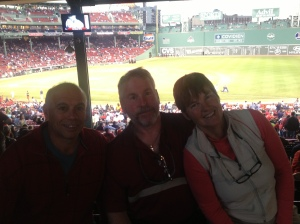 Tyler, Bradley and Kathy at Fenway