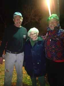 Oyster roast - Steve with his mom and Bradley