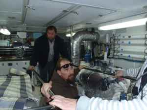 Diesel techs starting engines after service