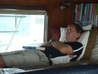 Dick relaxes at anchor at Crab Cay