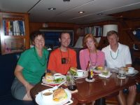 St. Patty's Day in the Pilot house, anchored at CrabCay