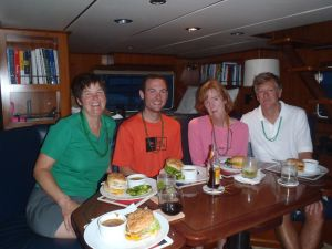 St. Patty's Day in the Pilot house, anchored at Crab Cay