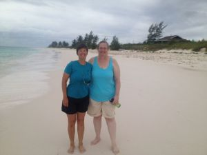 Kathy and April have the beach to themselves at Greenwood