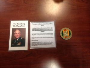 The Geocoin and accompanying info placed in the geocache