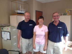 Kathy with Dave and Ben at Nordhavn office