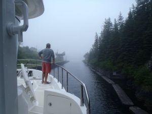 Heading through the St. Peter's Canal in the fog