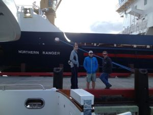 George, Bradley and Matt with the Northern Ranger in Makkovik