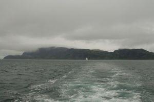 Fog descends on an island