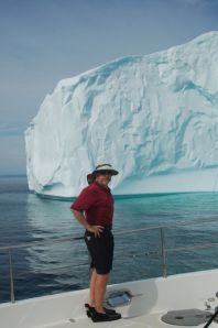 Bradley with his iceberg viewing attire (note slippers!)