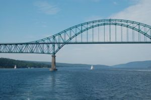 Adventure passing through bridge to exit the Bras d'Or Lakes