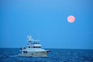 Adventure underway with a full moon (photo by Bradley!)