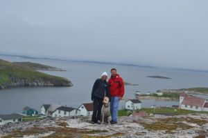 Marci, Gulliver, and George hiking in Makkovik