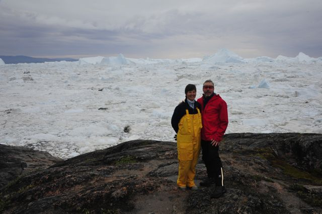 Kathy and Bradley at the Ilulissat Kangerlua (Photo by Steve D'Antonio)
