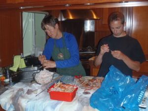 Picking the last of our snow crab meat for yummy crab cakes