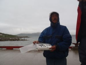 Toby in Nain, selling his jewelry. I bought some.