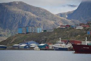 Shear Madness at the dock in Sisimiut, along with a shrimp boat