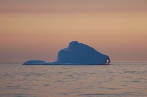 Iceberg at sunrise as we depart Torngat, Labrador
