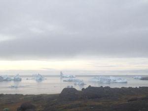 Icebergs dot the coast of Godhavn