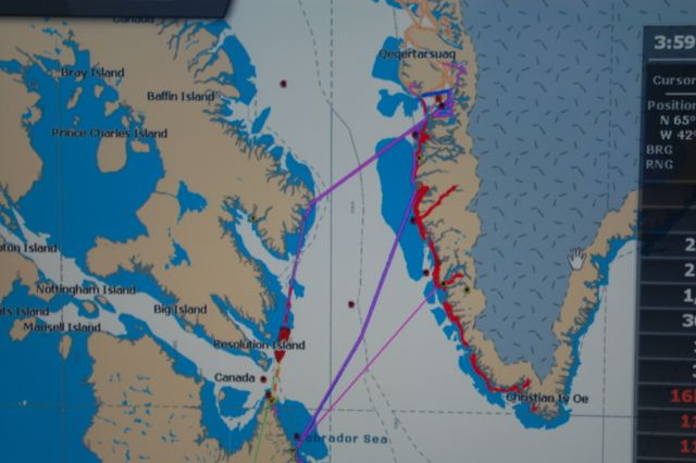 Our route across the Davis Strait to Baffin Island