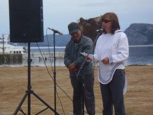 Sarah Leo, President of Nunatsiavut, speaks at the groundbreaking