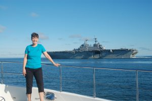 Kathy with aircraft carrier near Norfolk, VA