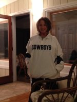 Patty in her Cowboys shirt