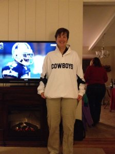 Kathy in the Cowboys shirt