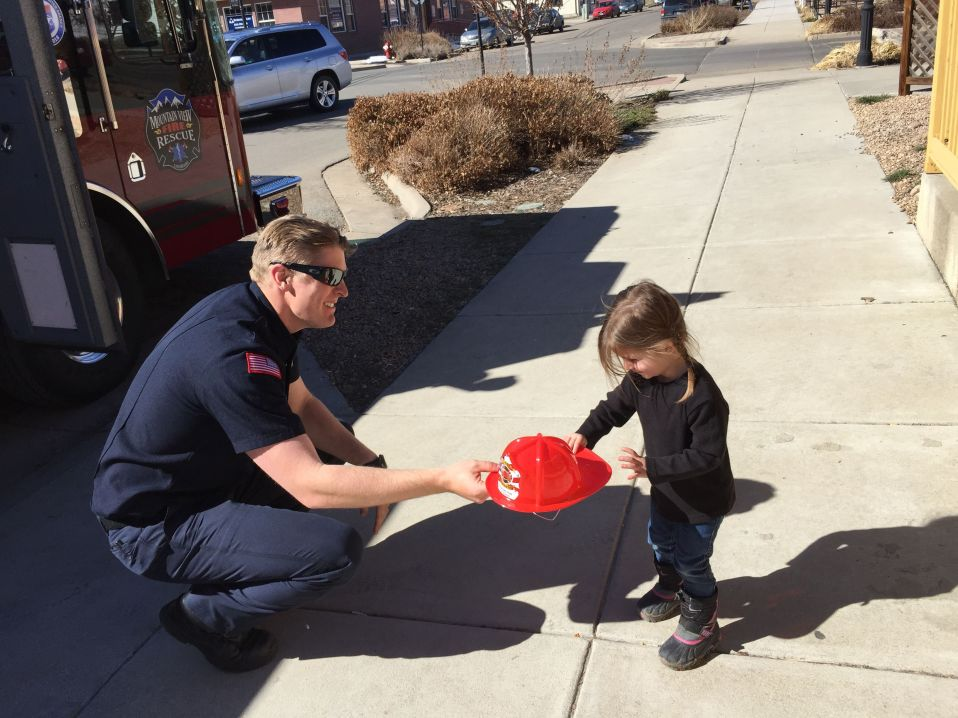 Great-niece Sophie meets a nice firefighter