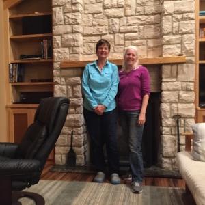Kathy with high school classmate Lynne